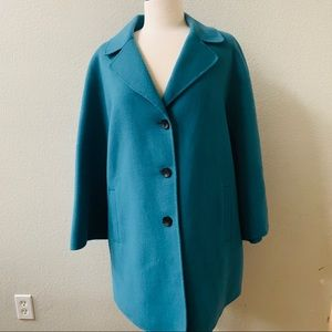 MARINA RINALDI Notizia teal blue Short Wool Coat L